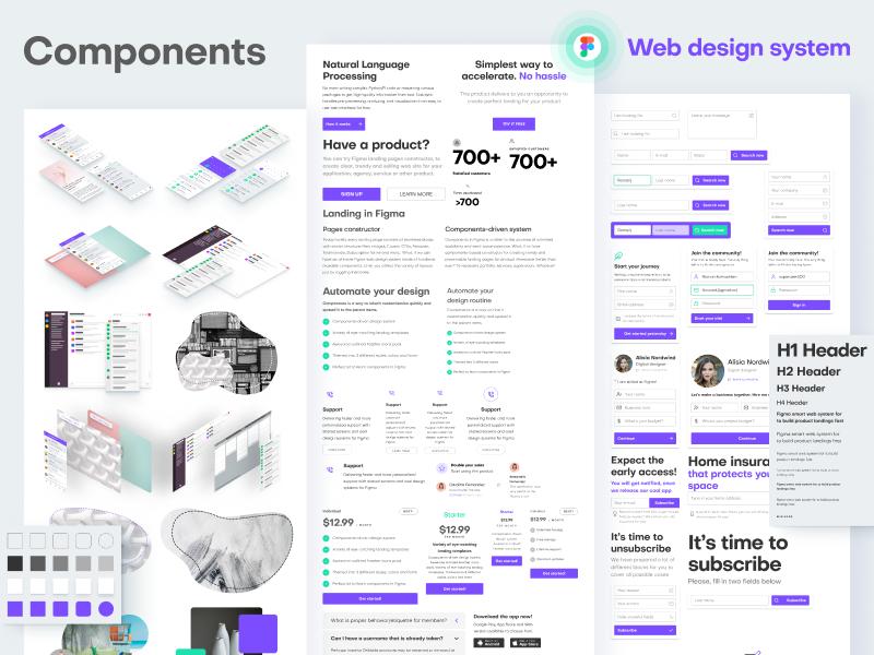 Web design components in Figma by Roman Kamushken on Dribbble