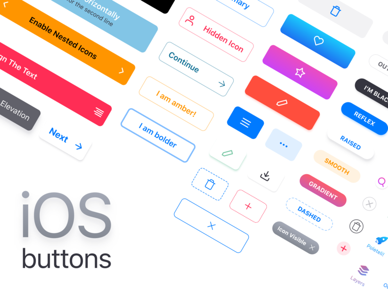 Figma iOS Kit · Native buttons components by Roman Kamushken