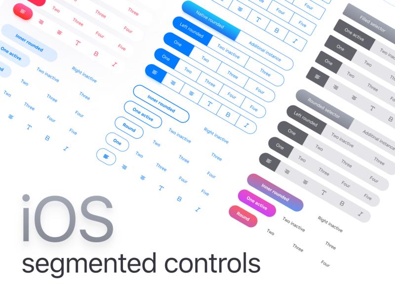 Figma iOS app templates · Segmented Components by Roman Kamushken on
