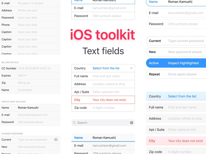 iOS 12 Figma Components · Text Fields by Roman Kamushken on