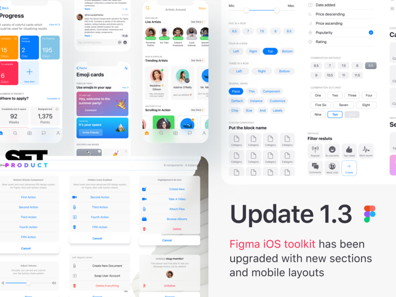 iOS mobile templates for Figma · 1 3 update by Roman Kamushken on