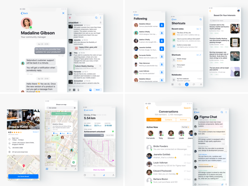 Figma Templates  List, Messenger, Chat, Maps, Navigation by Roman