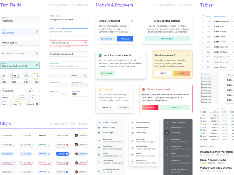 Ui Kit For Desktop Apps by Roman Kamushken on Dribbble
