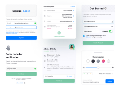 Mobile Figma Components For iOS Apps system kit counter slider verification code pin active button list field text input block ux ui app design mobile figma