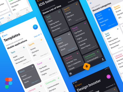 iOS layouts customization within Figma global styles template mobile material ui kit layout ux ui navigation card list action black dark button floating fab figma app styles ios
