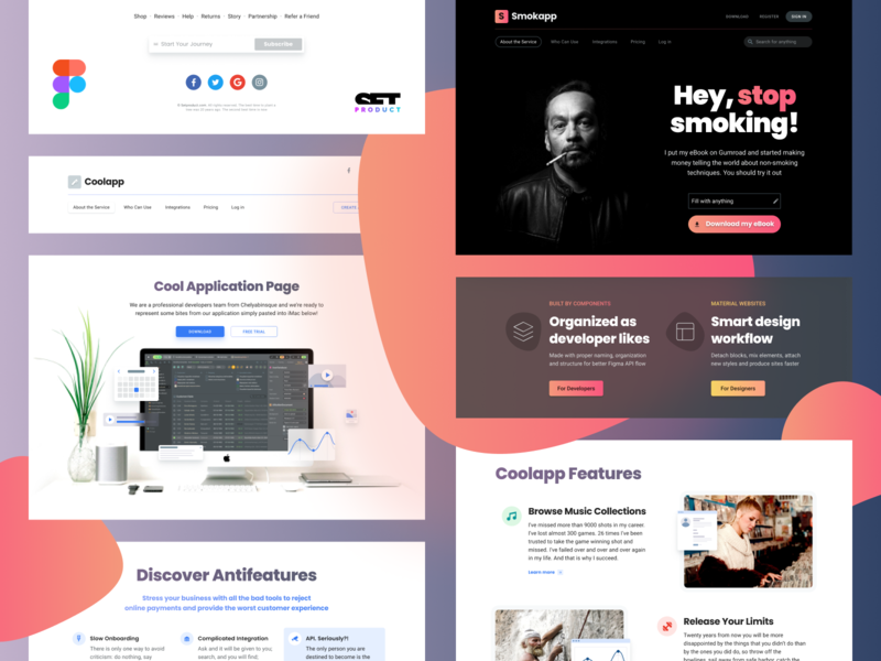 Material Design Website Template For Figma By Roman Kamushken On