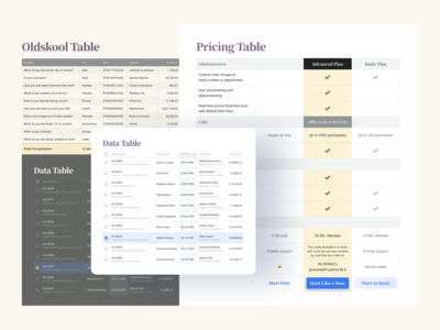 Tables UI Design — Cells, Grid, Templates