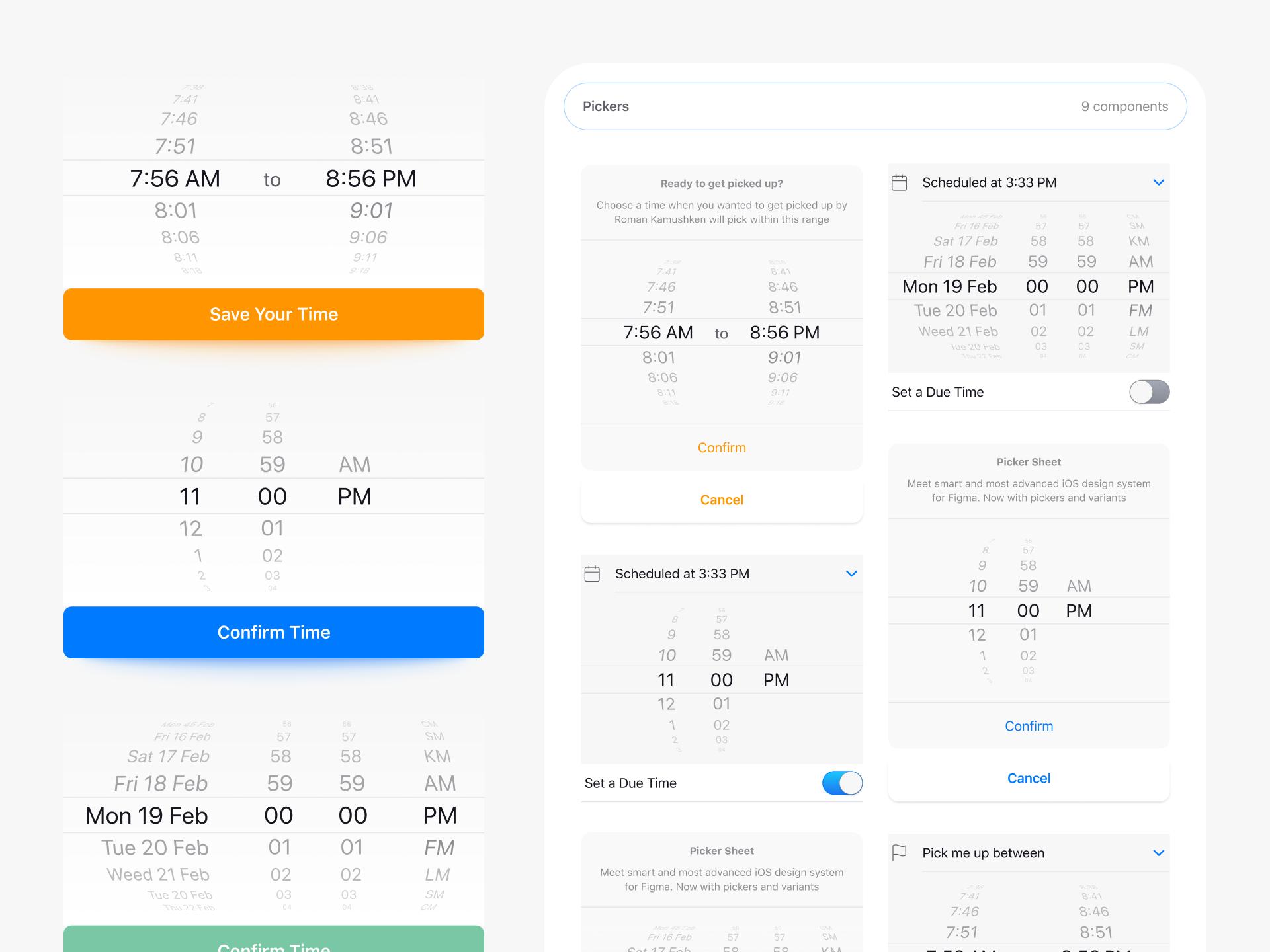 Figma iOS Pickers Native UI Design by Roman Kamushken on