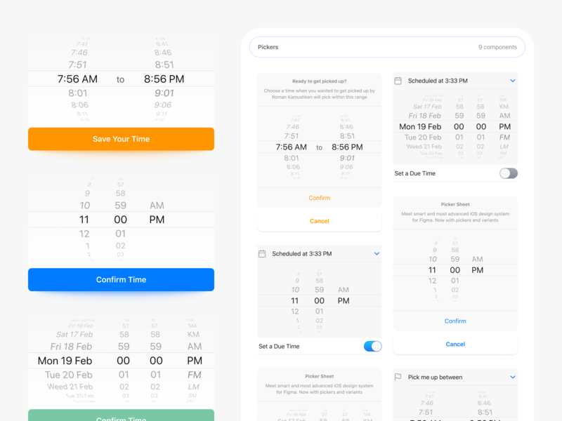 Figma iOS Pickers Native UI Design prototyping layout templates ui kit reflex shadow ux ui mobile app figma time date ios picker