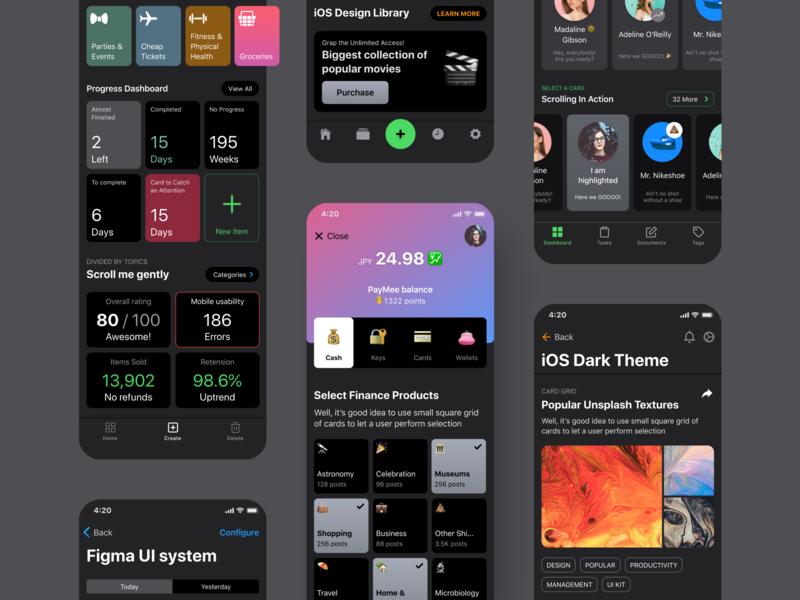iOS Dark Design Kit For Figma by Roman Kamushken on Dribbble