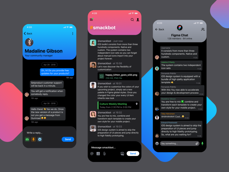 iOS Messenger Design Dark Theme by Roman Kamushken on Dribbble