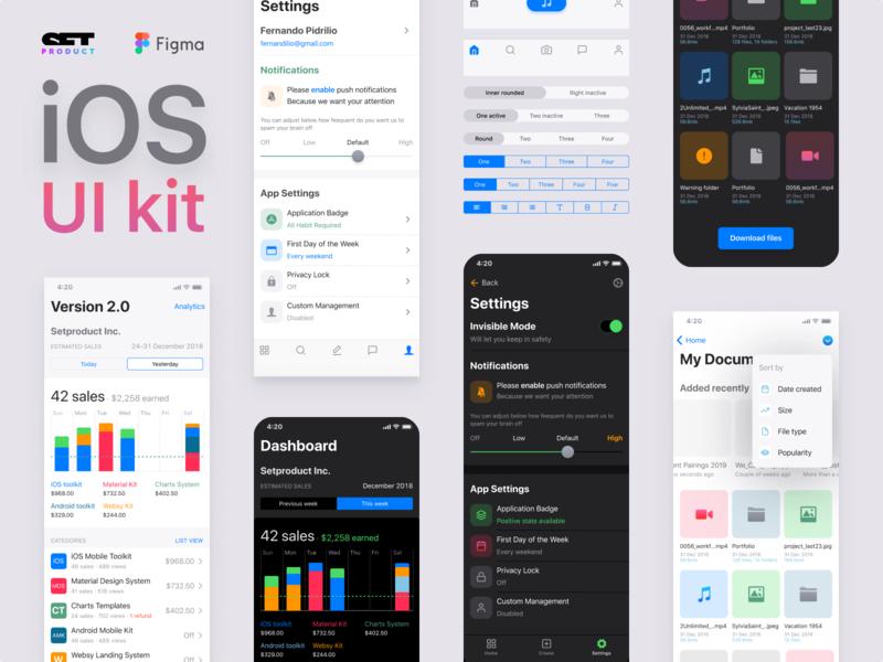 iOS dark UI kit for Figma design system prototyping templates ios 13 ui kit figma ui navigation tab bar app guidelines native black dark ux pattern mobile layout ios