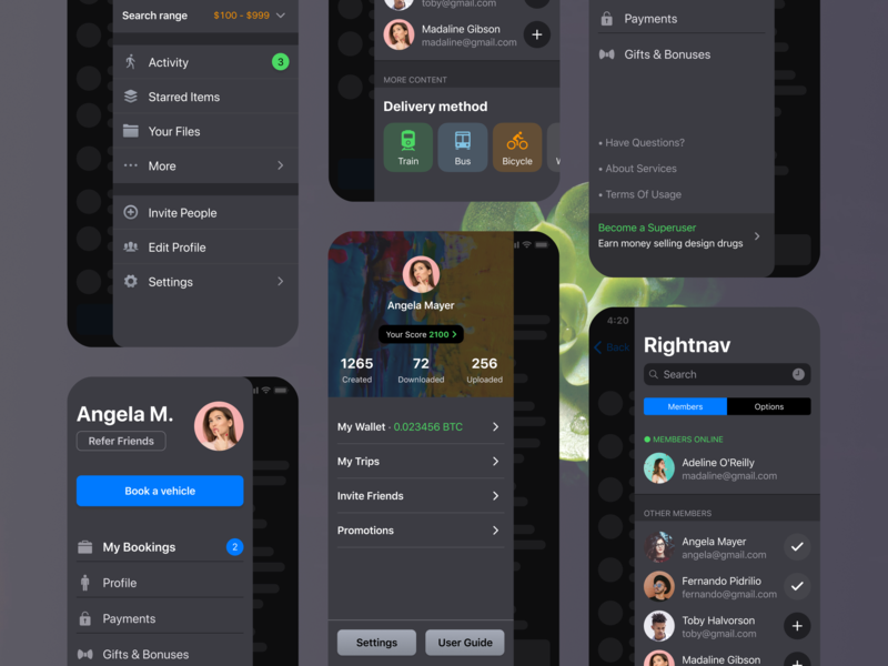 iOS Patterns: Side Navigation Drawer Bar templates ui app ui kit ios figma cards card categories theme dark tabs tab settings userpic user profile list