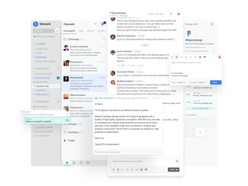 Messenger Web App UI Design popup template web design system templates ui kit design ui app figma speech bubble messenger messages message chat admin dashboard material desktop