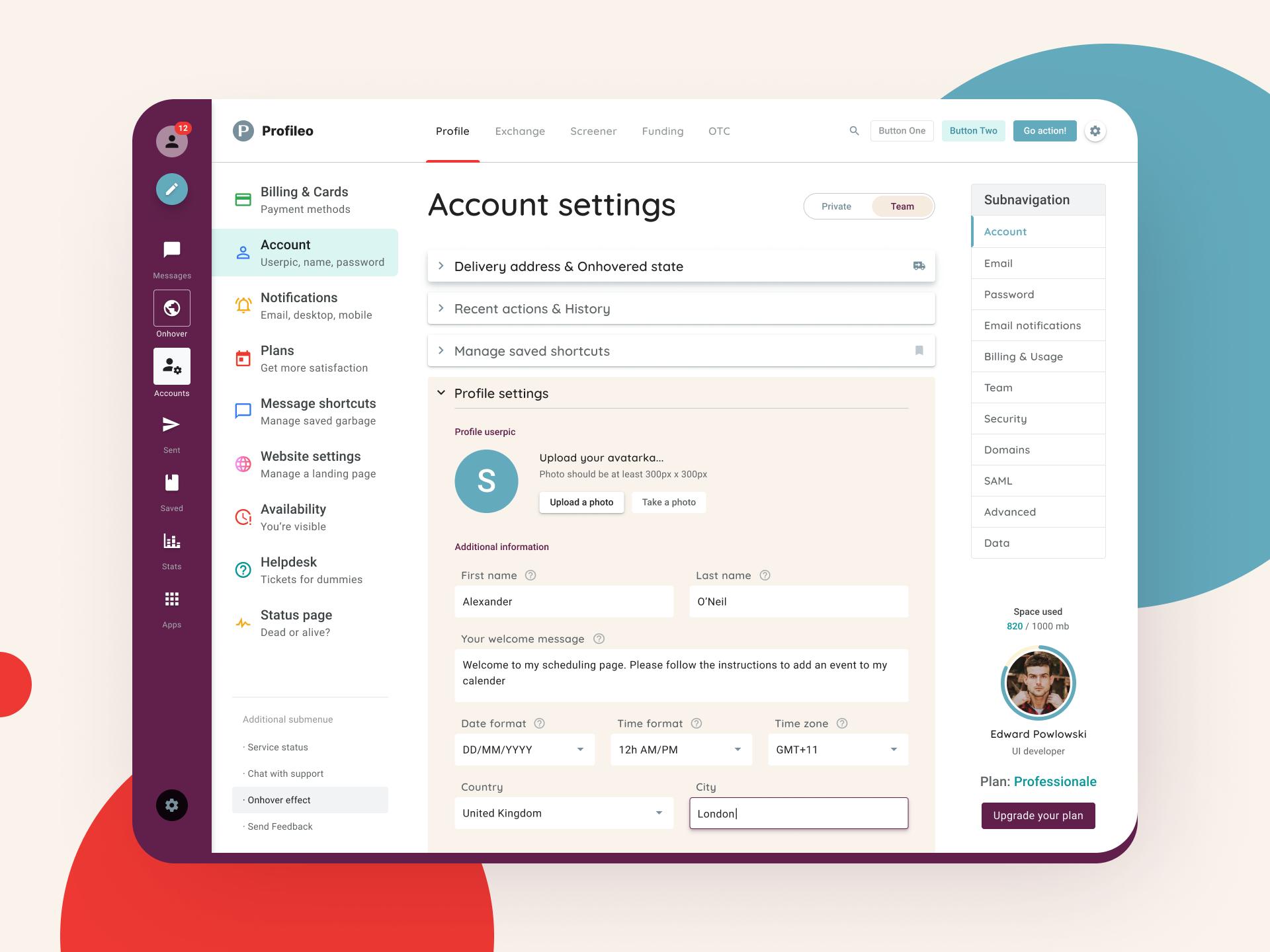 Profile dashboard ui design template