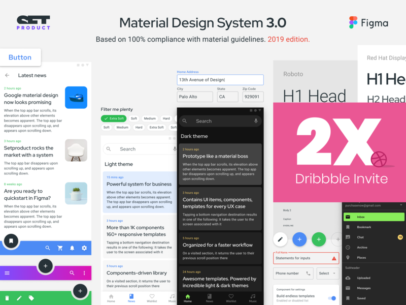 Figma Material Design System 3 prototype components card react ecommerce layout dashboard android mobile template web design system prototyping templates ui kit material design ui app figma