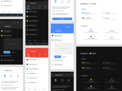 Steppers UI design - Material components for Figma