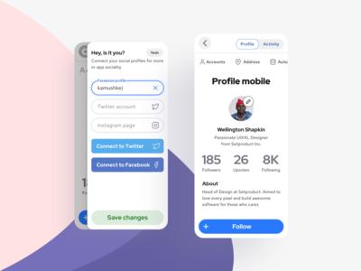 S8 Design System - Profile UI template mobile