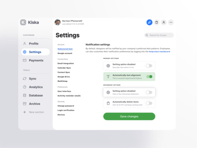 S8 Figma System - Settings UI design template for desktop