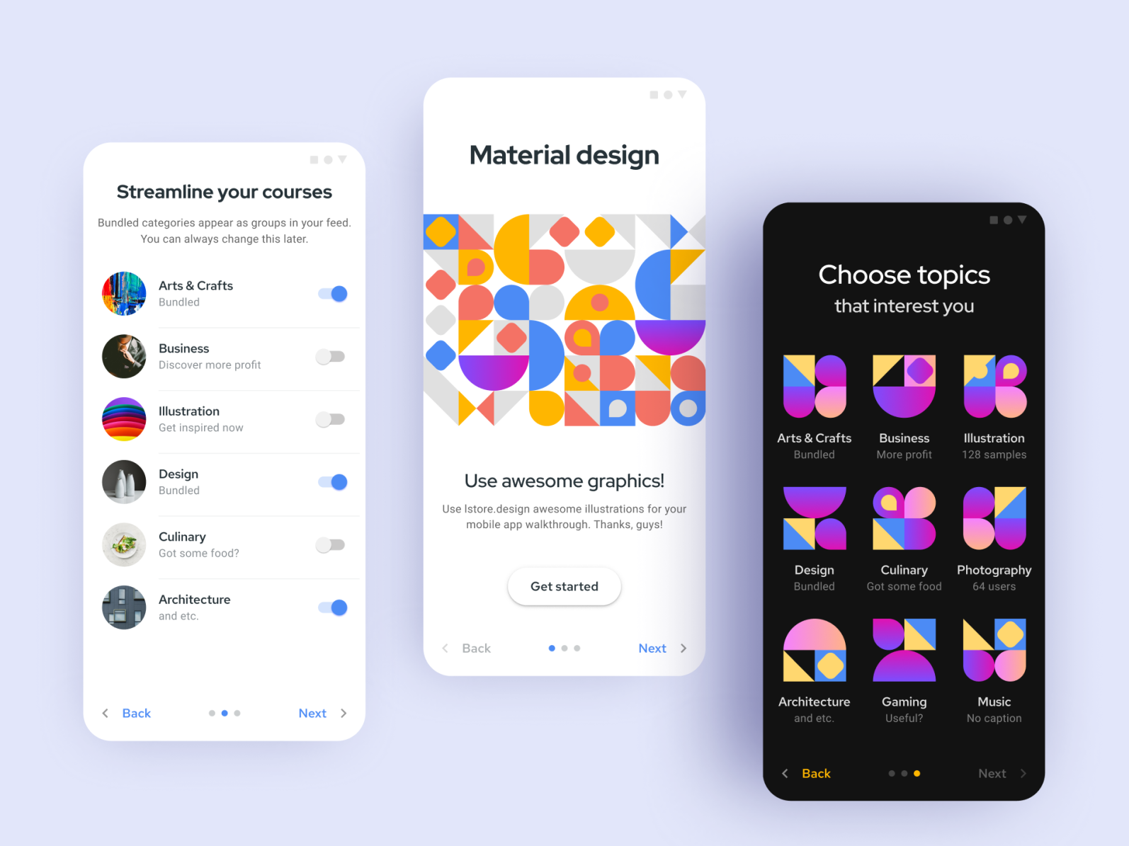 Material design system   onboarding app templates