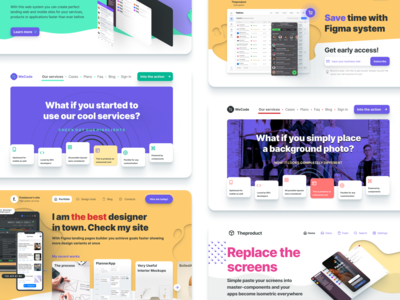 Figma web design library of templates