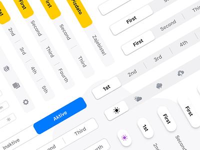 Figma iOS UI kit - Segmented controls - Native & Styled ghost outlined outline control segmented pills pill rounded navigation tabs mobile ios design system ui kit design ui app figma
