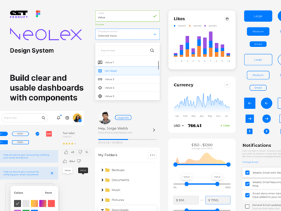Neolex Figma Design System. Dashboard templates mobile & desktop