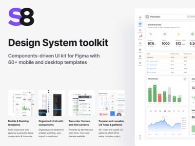 Figma UI kit - S8 design system components & app templates