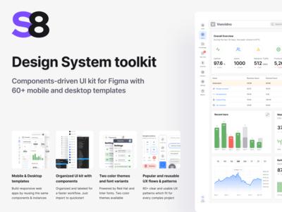 Figma UI kit - S8 design system components & app templates