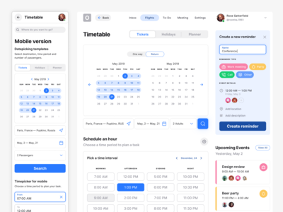 Figma calendar app template for mobile and desktop