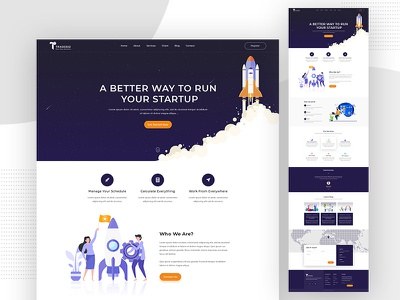 Startup Business Landing Page Template herosection banner homepage onepage casestudy uxdesign ai interactivedesign uidesign webdesign layout psd ux ui landingpage