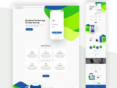 App Landing Page Template productdesign interactive how gradient minimal trendy herosection ux uxdesign webdesign application homepage onepage landingpage app