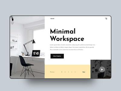 Minimal Workspace UI Explore minimal herosection onepage homepage layout psd interaction webdeisgn appdesign app uiux ui