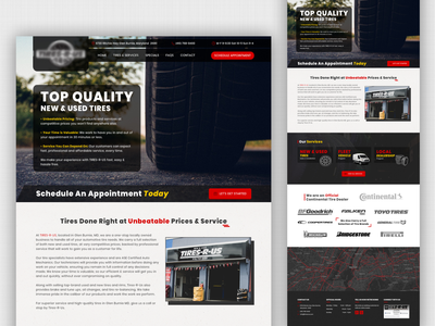 Homepage Design for a Tire Selling Website onepage landingpage webdesign ui tire design homepage design tire-selling