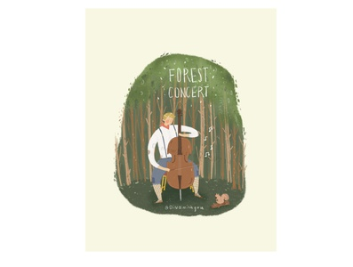Forest cello concert music forest dinoart dinowithyou character procreate illustration