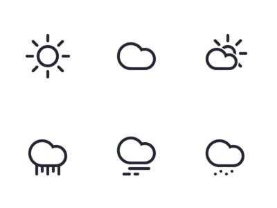Weather icon set - Linecons snow rain cloud sun grid simple lined clima weather icons icon