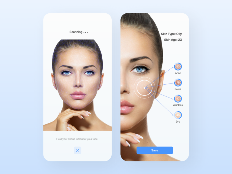 Face scanning flat clean ux ui skincare skin mobile minimal design application app design app