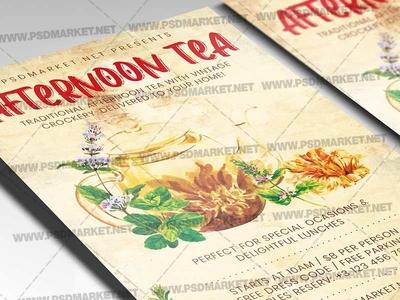 Afternoon Tea Template - Flyer PSD tea flyer tea brunch mothers day flyer family tea brunch brunch flyer afternoon tea flyer afternoon tea event