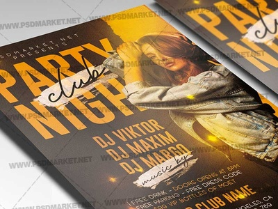Party Night Template - Flyer PSD show time show night dj show dj psd dj flyer design dj flyer dj battle flyer dj battle dj club party club flyer design
