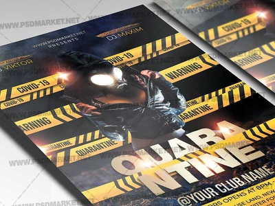 Quarantine Night Party Template - Flyer PSD quarantine zone night quarantine party quarantine flyer quarantine club quarantine lock down