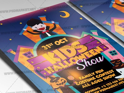Kids Halloween Show Template - Flyer PSD kids halloween party halloween queen halloween party halloween flyer design halloween flyer halloween costume party costume contest flyer