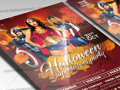 Superheroes Halloween Party Template - Flyer PSD superheroes party kids halloween party halloween superheroes flyer halloween superheroes halloween queen halloween party halloween flyer design halloween flyer halloween costume party costume contest flyer