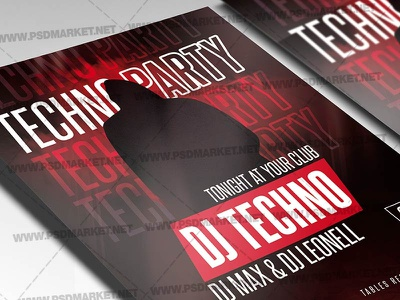 Techno Party Template - Flyer PSD techno party techno night techno music techno flyer design techno flyer techno club party techno flyer techno flyer psd