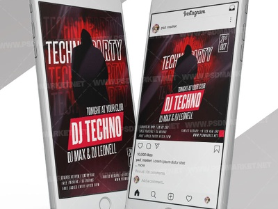 Techno Party - Instagram Post and Stories Template twerk instagram post twerk instagram flyer techno party techno night techno music techno flyer design techno flyer techno club party techno flyer techno flyer psd