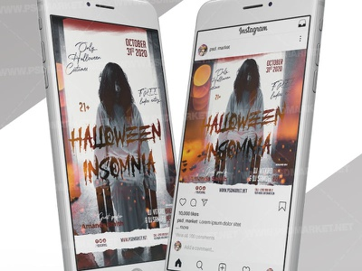 Halloween Insomnia - Instagram Post and Stories Template superheroes party kids halloween party halloween superheroes flyer halloween superheroes halloween queen halloween party halloween flyer design halloween flyer halloween costume party costume contest flyer