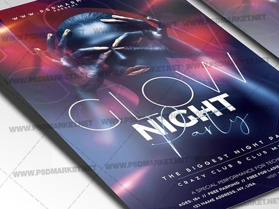 Glow Night Party Flyer - PSD Template