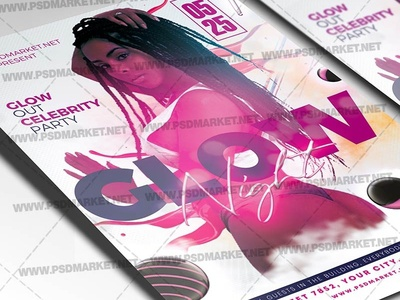 Glow Party Flyer - PSD Template