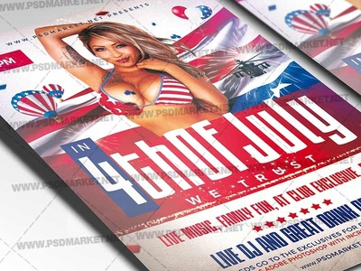 4th of July USA Flyer - PSD Template