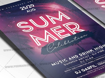 Summer Celebration Flyer - PSD Template