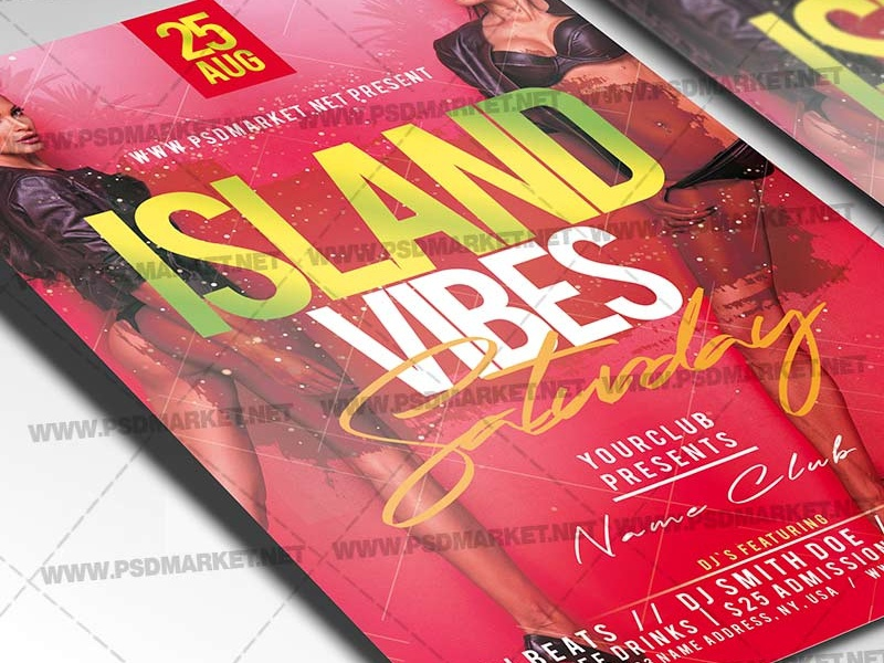 Island Vibes Flyer - PSD Template red flyer ladies night out poster ladies night out flyer ladies island vibes flyer good vibes flyer good friday poster good friday flyer girls night poster girls night out poster feelgood flyer day party flyer bad girls
